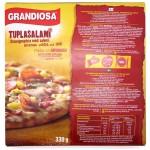 Grandiosa Tuplasalami -pizzan ravintosisältö, paisto-ohje ja raaka-aineet