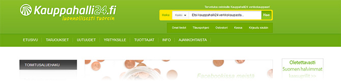 Yleisnäkymä Kauppahalli24.fi nettiruokakaupasta