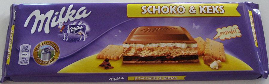 Milka Schoko & Keks -suklaalevyn pakkaus