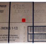 Pakkauspäivä, tarkistuspäivä, aika-lämpötila indikaattori ja laatikon sisältö