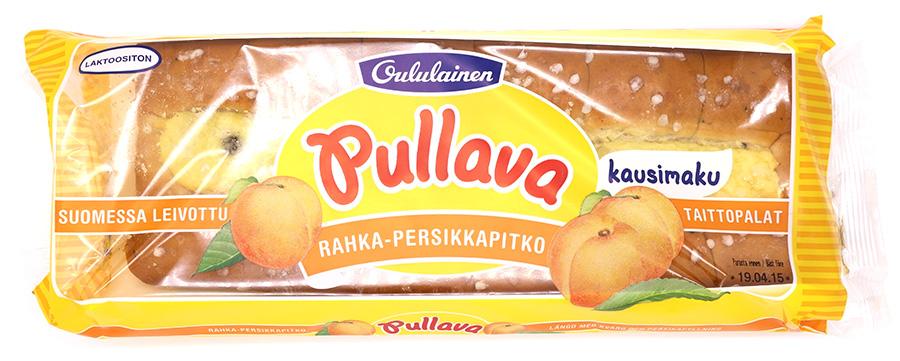Oululaisen Pullava rahka-persikkapitkon pakkaus